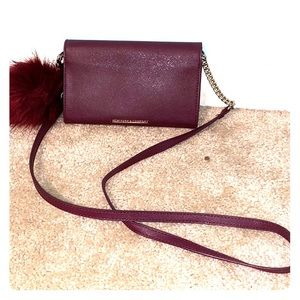 maroon leather new york and company shoulder bag
